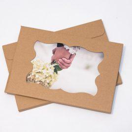 Pudełko/Koperta na zdjęcia 15×21/15×23 z okienkiem – kolor KRAFT/EKO